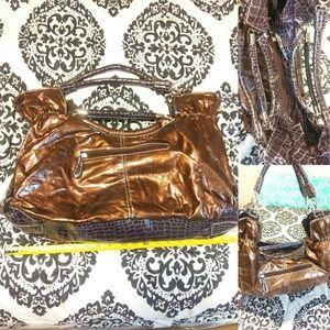 Handbags - Mahogonay With Crockodile Skin Large Bag